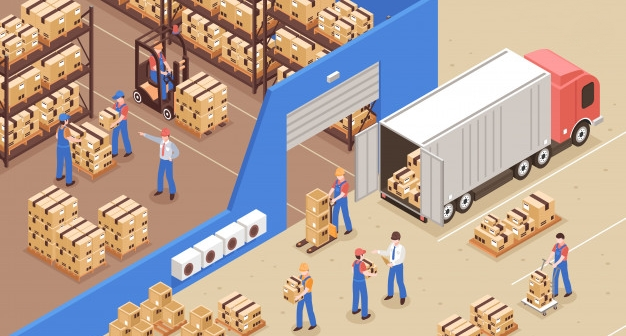 Jet Commerce Warehouse Fulfillment Center Illustration